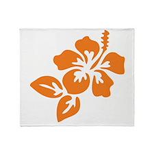 Orange Hibiscus Tropical Hawaii Flow Throw Blanket