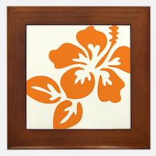 Orange Hibiscus Tropical Hawaii Flower Framed Tile