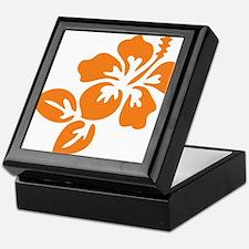 Orange Hibiscus Tropical Hawaii Flowe Keepsake Box
