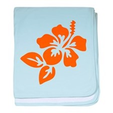 Orange Hibiscus Tropical Hawaii Flowe baby blanket