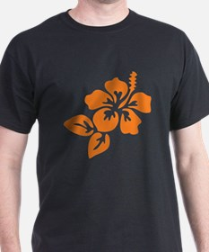 Orange Hibiscus Tropical Hawaii Flowe T-Shirt