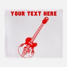 Custom Red Electric Guitar Throw Blanket