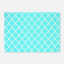 Light Aqua Quatrefoil Pattern 5'x7'Area Rug