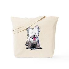 Muddy Westie Tote Bag