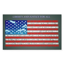 LIBERTY AND JUSTICE RECTANGULAR STICKER