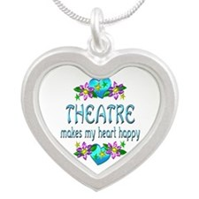 Theatre Heart Happy Silver Heart Necklace