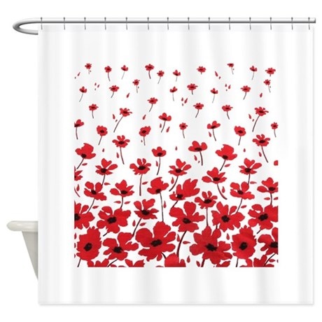 RED POPPY Shower Curtain by mytreasurechest