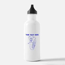Custom Blue Cartoon Horn Sports Water Bottle