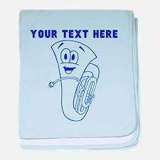 Custom Blue Cartoon Horn baby blanket
