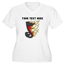 Custom Flaming Music Note Plus Size T-Shirt