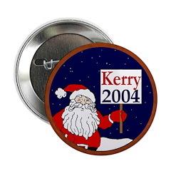 Santa Supports John Kerry 2004 Button