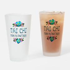Tai Chi Heart Happy Drinking Glass