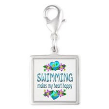 Swimming Heart Happy Silver Square Charm
