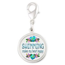 Swimming Heart Happy Silver Round Charm