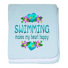 Swimming Heart Happy baby blanket