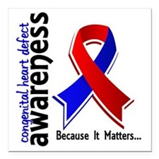 "CHD Awareness 5 Square Car Magnet 3"" x 3"""
