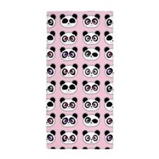 Cute Panda Expression Pink Beach Towel