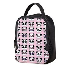 Cute Panda Expression Pink Neoprene Lunch Bag