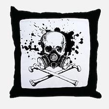 Gas Mask Jolly Roger Black Throw Pillow
