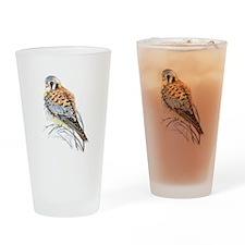 Watercolor Kestrel Falcon Bird art Drinking Glass
