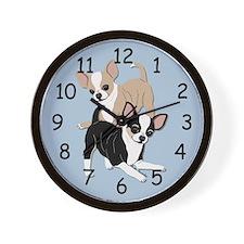 Chihuahuas Smooths at Play-Blue Wall Clock