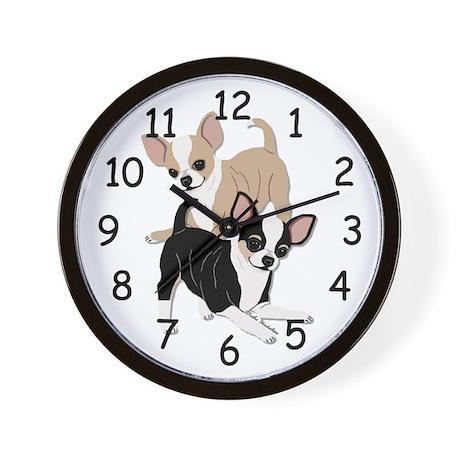 Chihuahuas Smooth Coats at Play Wall Clock