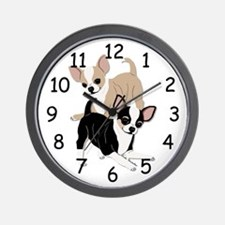 Chihuahuas Smooth Coats at Play Wall Clock