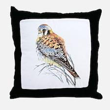 Watercolor Kestrel Falcon Bird art Throw Pillow