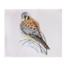 Watercolor Kestrel Falcon Bird art Throw Blanket
