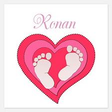 Baby Footprint Heart Invitations