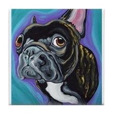 Black Brindle French Bulldog Tile Coaster