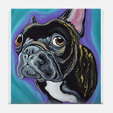 Black Brindle French Bulldog Tile Coaster