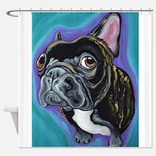 Black Brindle French Bulldog Shower Curtain