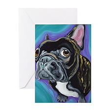 Black Brindle French Bulldog Greeting Cards