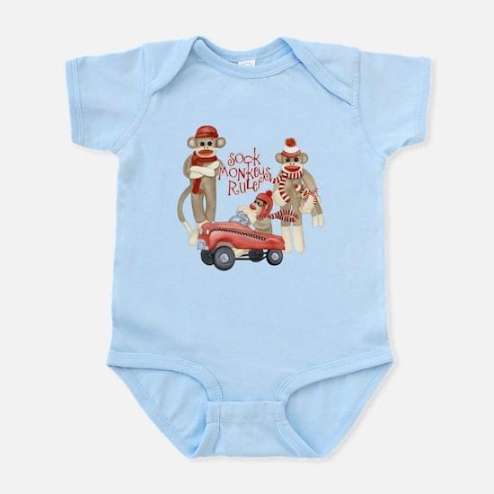 Retro Sock Monkey Pedal Car Monkeys Rule Body Suit