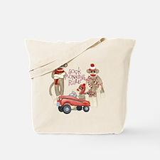 Retro Sock Monkey Pedal Car Monkeys Rule Tote Bag