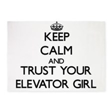 Keep Calm and Trust Your Elevator Girl 5'x7'Area R