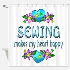 Sewing Heart Happy Shower Curtain