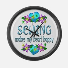 Sewing Heart Happy Large Wall Clock