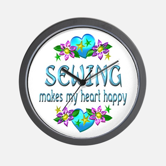 Sewing Heart Happy Wall Clock