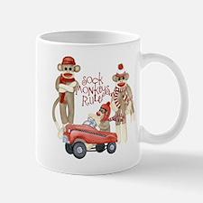 Retro Sock Monkey Pedal Car Monkeys Rule Mugs