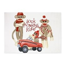 Retro Sock Monkey Pedal Car Monkeys Rule 5'x7'Area