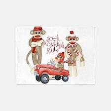 Retro Sock Monkey Pedal Car Monkeys Rule 5'x7'Area