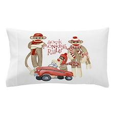 Retro Sock Monkey Pedal Car Monkeys Rule Pillow Ca