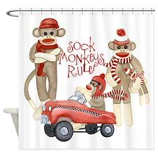 Retro Sock Monkey Pedal Car Monkeys Rule Shower Cu
