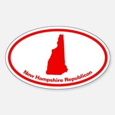 New Hampshire RED STATE Oval Decal