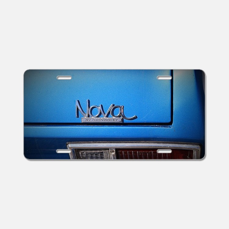 Blue Nova Aluminum License Plate