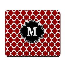 Red Black Quatrefoil Monogram Mousepad