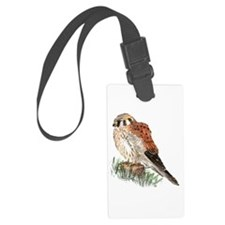 Watercolor Kestrel Falcon Bird Luggage Tag