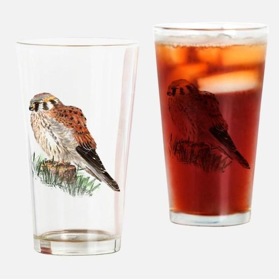 Watercolor Kestrel Falcon Bird Nature Art Drinking